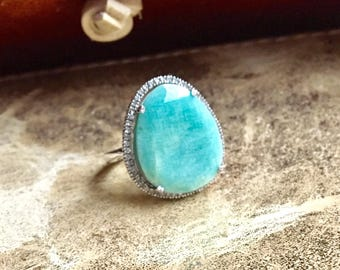 Amazonite and diamond halo statement ring