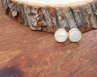 White opal, moonstone,  stud earring, gift for her