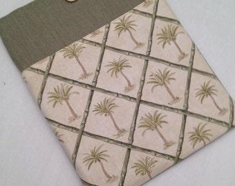 """Lin Macbook 15"""" rembourré manches lin /Macbook 15"""" affaire de rétine / Made in Maine / linge w palmiers"""
