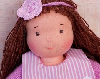 12 inch soft waldorf doll, small fabric doll, little textile doll, rag doll, soft doll, cloth doll, pocket doll