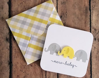 Baby Card, Baby Shower Card, Gift Enclosure Card, Elephant Card, Shower Enclosure Card, Mini Baby Card, Yellow Baby Card, Mini Card