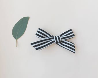 Black and White Stripe Schoolgirl Bow