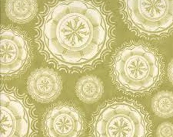 """Odds & Ends Fabric by the Yard, Julie Comstock / Cosmo Cricket, Moda, 44"""" Wide, Green, 100% Cotton Quilt, 3743 24"""