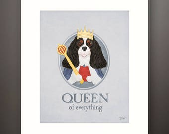 Cavalier King Charles Spaniel Queen Girl Dog Matted 8x10 Art Print - Fits 11x14 Frame