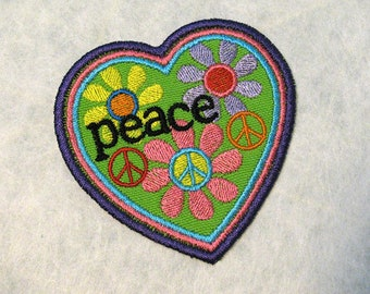 Peace Patch - Heart, Flowers, Peace Sign Patch - Hippie Patch - Flower Child - Retro 60s Style Jeans Patch - Embroidered Iron-On Patch