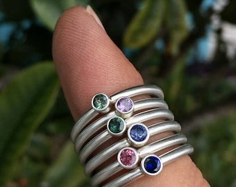 Sterling Silver and Sapphire stackable rings- Handmade // stack // stacker // gemstone // gifts for her // bridesmaid gift