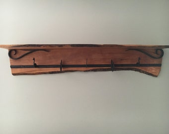 Live Edge Apple Shelf with Hand Forged Wrought Iron Hooks