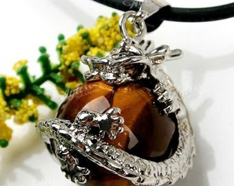 Tigers Eye Stone Silver Plated Round Dragon Bead Pendant For Necklace