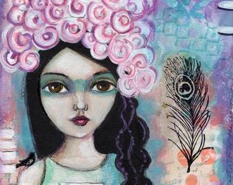 Inspirational Art, home decor, Big Eyed girl, Tribal art, feather, Illustration,  PRINT