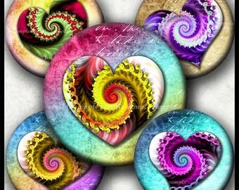 INSTANT DOWNLOAD Colorful Fractal Hearts (763) 4x6 1 inch round Bottle Cap Images Printable Digital Collage Sheet glass tile cabochon images