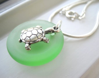 Sea Turtle Necklace - Sea Turtle Jewelry -Turtle Gift Set - Animal Jewelry - Gift for Beach Lover - Green Glass - Light Green Necklace