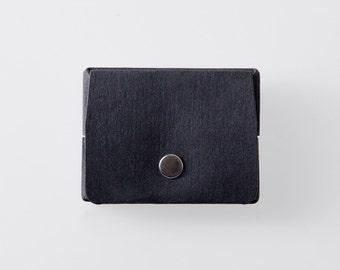 Rectangulaire Origami papier lavable porte-monnaie en Punaluu noir / sac à main Vegan