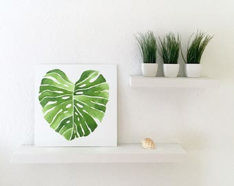 Monstera Leaf Painting Wall Decor
