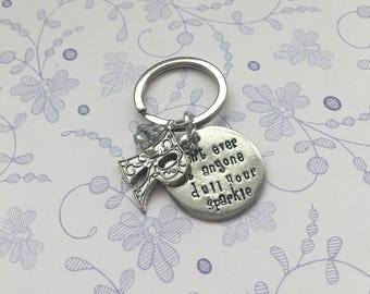 Positivity quote pewter keyring,  inspirational words, motivational words, positivity gift, mindfulness quote, gift for mindfulness