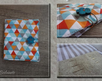 Needles or pins geometric fabric pouch