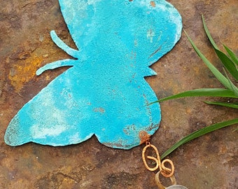Wind Chime - Wind Chimes - Copper Wind Chimes - Butterfly Wind Chime - Blue Butterfly Wind Chime - Blue Patina  Butterfly - Outdoor Decor