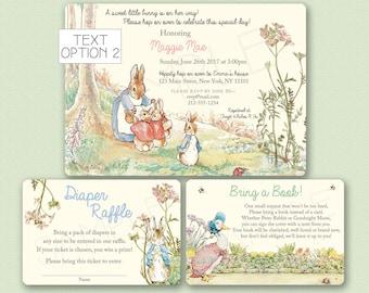 Peter Rabbit Baby Shower Invitation - Peter Rabbit Invitation - Peter Rabbit Birthday Invitation Bring a Book Card , Diaper Raffle Card