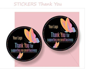 Stickers Thank You For Supporting My Small Business * Butterfly Design *INSTANT Download* Decal * Stickers* Approved Fonts&Colors *GOLD LOGO