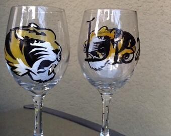 Hand painted wine glass, hand painted wine glasses, University of Missouri wine glass