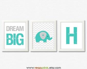 Teal and grey nursery art print - 8x10 UNFRAMED - elephant art work , boys wall art, baby boy art print, dream big, initial, monogram