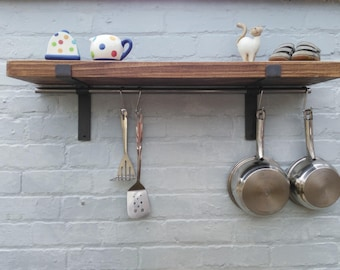 kitchen shelves solid wood pan hanger pan rack Shelf with pan hanging rod  (1 shelf) 22 cm deep shelves with brackets