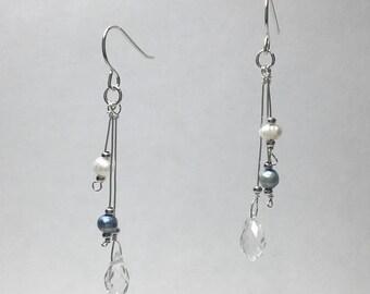 Pearl & Crystal Droplet Earrings