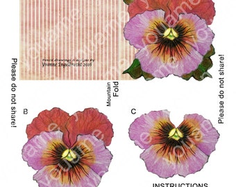 Red and Pink Pansy Note Card and Envelope