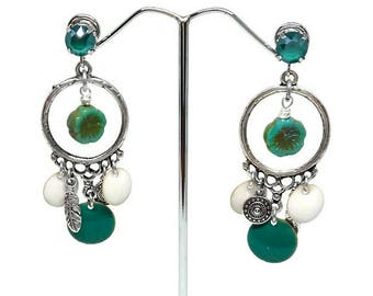 Green, bright, Silver earrings, Swarovski Crystal, green and white sequins