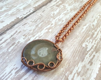 Ammonite Fossil Pendant Necklace - Copper Wire Wrapped Necklace - Statement Necklace - Fossil In Stone - Natural Jewelry - Hippie Jewelry