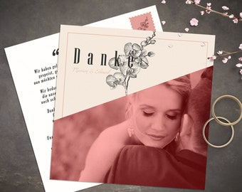 Thank you card for a wedding | Vintage & Botanic look | Personalization and printing