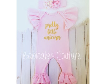 Pretty Little Unicorn, Unicorn Romper, Unicorn Headband, Newborn Photo Outfit, Unicorn Baby Outfit, Newborn Ruffle Romper, Baby Girl Clothes