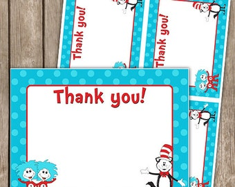 Doctor Seuss Inspired Thank you Cards Flat INSTANT Download