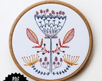 SHROOM BLOOM - pdf embroidery pattern, embroidery hoop art, mushroom flower, scandi inspired, woodland botanical design, magic mushroom