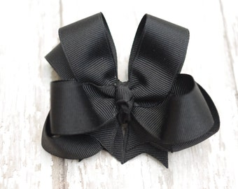 """Girls Hair Bow Black Double Layered 4"""" Boutique Hairbow"""