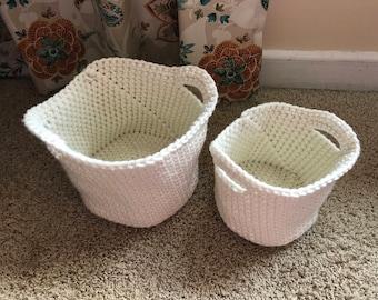 Crocheted basket bucket set cream off white storage