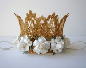 Small Gold Lace Crown with White Flowers - Newborn Gold Crown - Photo Prop - First Birthday Cake Smash - Baby Gold Crown Ivory Flowers