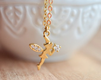 Fairy 16K Gold Plated Stacking Necklace - BridesMaid Gift - Gold Tinkerbell Necklace