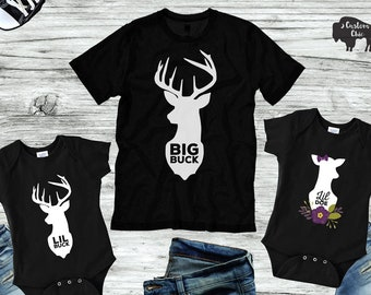 Father Son Daughter Dad shirt | Buck hunting deer daddy and me matching t shirt | family shirts | fathers day gifts for him | gift for dad