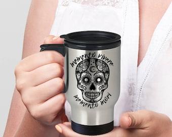Sugar Skull Mug, Halloween Travel Mug, Day of the Dead, Dia de los Muertos, Stainless Steel Mug, Sugar Skull Gift, Vivere Mori Travel Mug