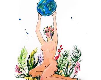 Mother Earth Print Of Gouache Illustration