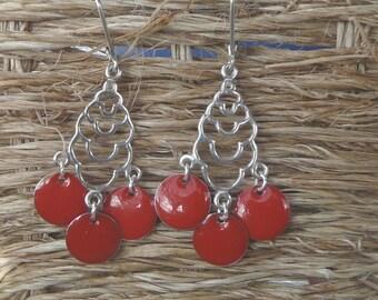 """""""Cherry"""" Silver chandelier earrings"""