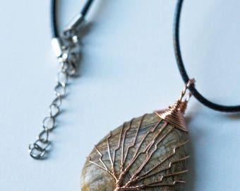 Ocean Jasper Wire Wrapped pendant (0156)