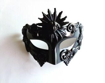 Black Masquerade mask for men, greek or roman masquerade masks, venetian mens masks, halloween masks, black mens face masks