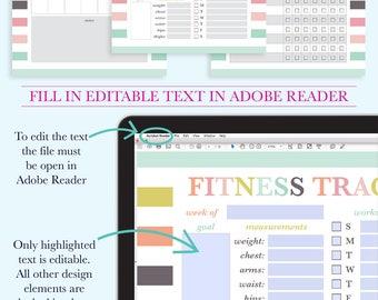 Fitness Journal, Fitness Printable, Fitness Planner PDF, Fitness Log, Fitness Tracker, Workout Planner, Half Letter Planner Printable, A5