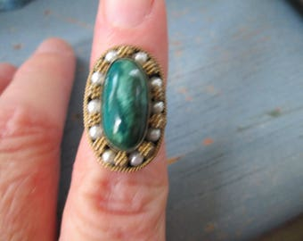 Vintage Malachite and Pearl Ring in Sterling