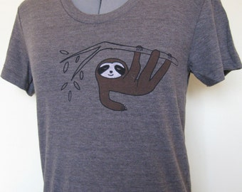 Sloth Womens T Shirt Coffee