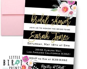 BRIDAL SHOWER INVITATION Black and white stripes floral bridal shower invitation Black white bridal shower invitation Watercolor Flowers