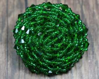 3pcs 4.5cm 1.77 inches wide green beads braided clothes coat buttons appliques patches TWSISI free ship