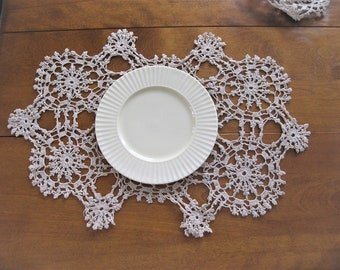 6 Vintage Crochet Placemats, 5 Rectangular 1 Smaller Square Cotton Tea Stained Table Linens Snowflake Pattern Pinwheel Design