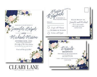 Floral Wedding Invitation Set, Blush and Navy Wedding Invitations, RSVP Postcard, Details Card, Floral Wedding Set, Wedding Suite #CL325